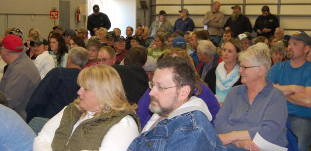 A crowd listens during a meeting last week about whether Westfield Township should establish its own zoning ordinance.