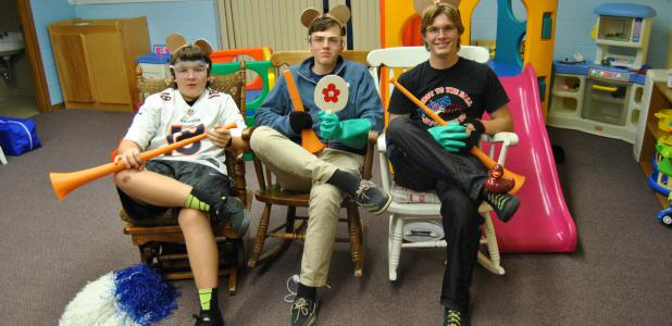 Three youth group members dressed up as mice, calling themselves the Three Mousketeers. Left to right are teenagers Parker Moore, Spencer Steckelberg and Parker Holton.