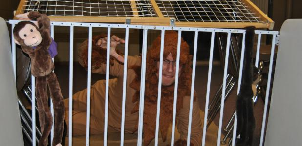 One station at the Associated Church where children could trick or treat was the Lion's Den, complete with Stefan Langendam, who was dressed as a lion in the cage.