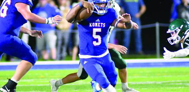Running back Anthony Moe-tucker takes off with the ball.