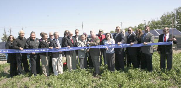 Steele-Waseca Cooperative Electric dedicated its 250-panel community solar garden Wednesday, May 13, at the co-op's headquarters in Owatonna.