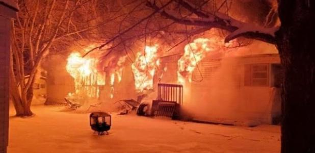 A ravaging fire destroyed a Dodge Center home Sunday night.