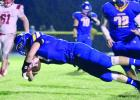 Hayfield's Cole Selk dives across goal line for 2 point conversion.