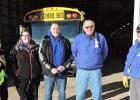 It was a very cold Tuesday, February 16, morning, but the KM bus drivers were on the job with their routes. Left to right are: Tea Wytaske, Kami Anderson, Jerry Reker, Jay Horsman and Jeff Schmidt.